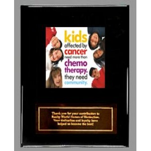 "Ebony finish Plaque with Full-Color Panel and Metal Plate - 7"" x 9"""
